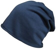 e24364ddf51 Beanie Hat Mens Ladies Slouch Winter Woolly Ski Knitted Turn up Oversize  Hats Navy Blue