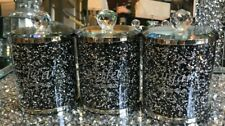 Crush Daimond Black And Silver Tea Coffee Sugar Canisters