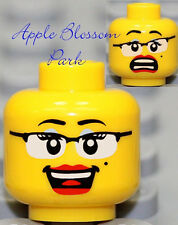 NEW Lego Female Girl MINIFIG HEAD w/Glasses Red Lips Smile - Police/Agents/Alien