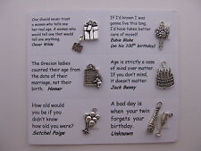 Birthday charms for scrapbooking, card and jewelry making - 7 charms and quotes