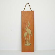 Wandbild Kranich Vögel 60er 70er Teak Vintage Wall Plate Crain Birds Midcentury