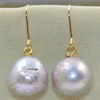14-15mm Purple Baroque Pearl Earrings 18K Hook Dangler Earbob Flawless TwoPin