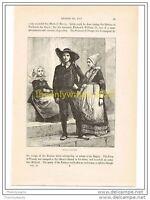 BRETON PEASANTS, FRANCE, c1787, Book Illust c1870
