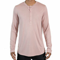 Salmon Pink Henley Neckline Long Sleeve Shirt