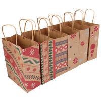 2019Christmas Gift Bags Santa Sacks Kraft Paper Bag Kids Party XmasDecorRandomFZ