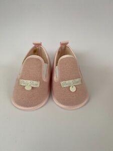 Baby Dior Girls Pink Knit Satin Trim First Pram Shoes Slippers UK2 US3 EU18