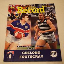 1992 AFL Qualifying Final Football Record Geelong v Footscray