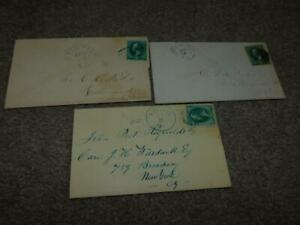 US 3 CENT BANKNOTE COVERS FANCY CAN, PEACE DALE, BRISTOL, & LITTLE COMPTON, R.I.