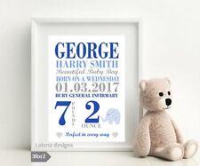 Personalised A4 Design New Baby, Birth, Nursery, Newborn Gift Boy Elephant