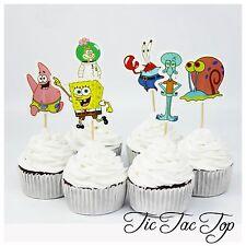 12x SpongeBob SquarePants CUPCAKE TOPPER Pick. Party Supplies Lolly Loot Bag