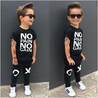 2pcs Toddler Kids Baby Boys Summer Casual Clothes T-shirt Tops+Pants Outfits Set