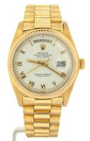 Mens Rolex Day-Date President Solid 18K Yellow Gold Watch White Roman Dial 18038