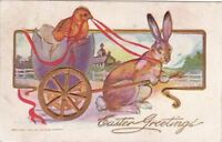 Postcard Easter Greetings Rabbit Pulling Chick Egg Cart