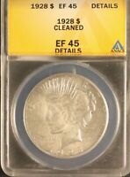 1928 Peace Silver Dollar Anacs EF45 Details Certified Rare Key Date US Coin 5296
