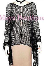 Black Crochet Poncho Top Asymmetrical Rayon-Silk Maya Matazaro One Size