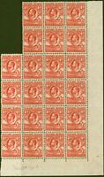 Falkland Islands 1936 1d Dp Red SG117a Line Perf Fine MNH Block of 22