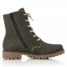 Rieker 79839-54 Ladies Womens Autumn Winter Side Zip Up Ankle Boots Green