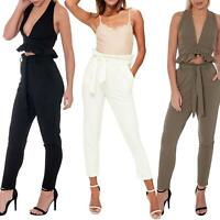 Womens Paper Bag High Tie Waisted Belted Tapered Sim Fit Trousers Cigarette