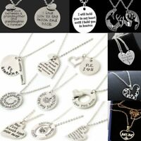 Family Couple Heart Love Necklace Silver Plate Pendant Women Charm Chain Jewelry