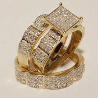 His Her 10K Yellow Gold Diamond Trio Set Bridal Wedding Band Engagement Rings