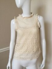 ZARA Trafaluc Collection NEW! Cream Crochet Lace Sleeveless 2-Pc Blouse S NWOT!