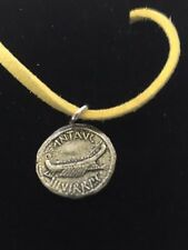 """Mark Antony Denarius Coin WC70 English Pewter On a 18"""" Yellow Cord Necklace"""