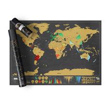 carta murale scratch map deluxe, mappa del mondo da grattare, Lukies of London