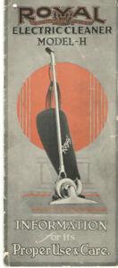 VTG 1920s ROYAL ELECTRIC VACUUM CLEANER MODEL-H INSTRUCTION MANUAL! PARTS LIST!