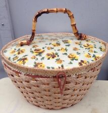 Vintage Wicker Satin Lined Sewing Basket Yellow Rose Top Bamboo Handle Japan
