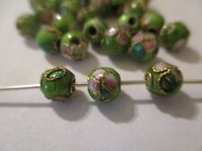 100  ~~ Round Gren  Gold Trimmed Cloisonne Beads 5.7 mm   CMB4