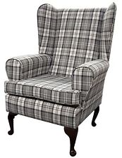 FIRESIDE WING BACK QUEEN ANNE CHAIR SUPERIOR  LUXURY GREY CHECK FABRIC
