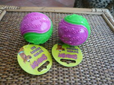 2 X NEW WITH TAGS DOG BALL SCOOBY DOO DURABLE SQUEAKY TOY PINK / GREEN COCKAPOO