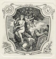 Nude, Knight, Mythology Original Print Ex libris Etching by Victor Guzenyuk