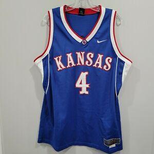 Vintage Nike Team Elite NCAA KANSAS JAYHAWKS 4 Swingman Jersey Mens L Sewn