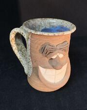 Vintage Stoneware Face Mug Folk Art Blue Speckled Pottery
