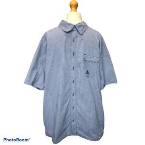 adidas CLIMALITE Check SHIRT Short Sleeves Blue Black White UK 48/50 USA XL