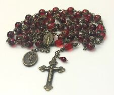 ST. MICHAEL DARK GARNET RED BOHEMIAN GLASS CRYSTAL ANTIQUE BRONZE ROSARY FR GIFT
