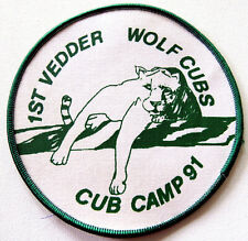 """1st VEDDER WOLF CUBS CUB CAMP 91 Badge Patch 4-1/4"""""""