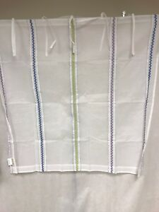 Pottery Barn Kids Cotton Sheer Ribbon Embroidery Applique 44x44 Window Panel