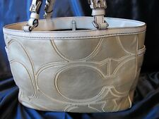 COACH Gold Metallic Cream Leather Inlaid Gallery Tote Bag...#9371..w/ dust cover