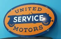 VINTAGE UNITED MOTOR SERVICE PORCELAIN GASOLINE & OIL CHEVY AUTO SERVICE SIGN