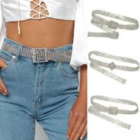 US Women Diamond Bling Crystal Waist Belt Wide Chain Full Rhinestone Waistband