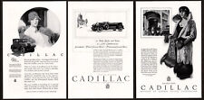 1926 CADILLAC LA SALLE Lot of 3 Vintage Antique Print Advertisement AD Lady art