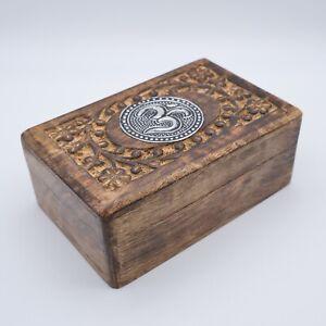 "Wooden Handcarved Box Metal Ohm Flowers Jewellery Trinket 6 X 4"" UK Seller"