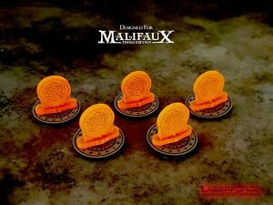 Strategy Tokens / Markers 30mm MAGNETIC (5 Pack) - MALIFAUX M3E - LASERFORGE