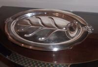 Vintage,....  Wonderful Silver Meat Serving Tray .. Oval.. Beautiful