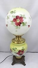 Antique Victorian Floral Gwtw Lamp Gone With The Wind Hand Painted Glass