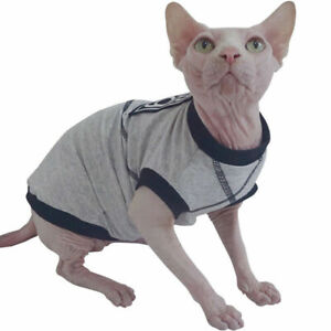 Sphynx Cat Kitten Clothes 95% Cotton Top T-Shirts Vest Hairless Cat Pajamas