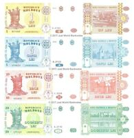 Moldova 1 + 5 + 10 + 20 Lei Set of 4 Banknotes 4 PCS UNC