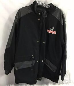 Tecate Beer Mens Black Snap on Full zip up jacket Size Medium